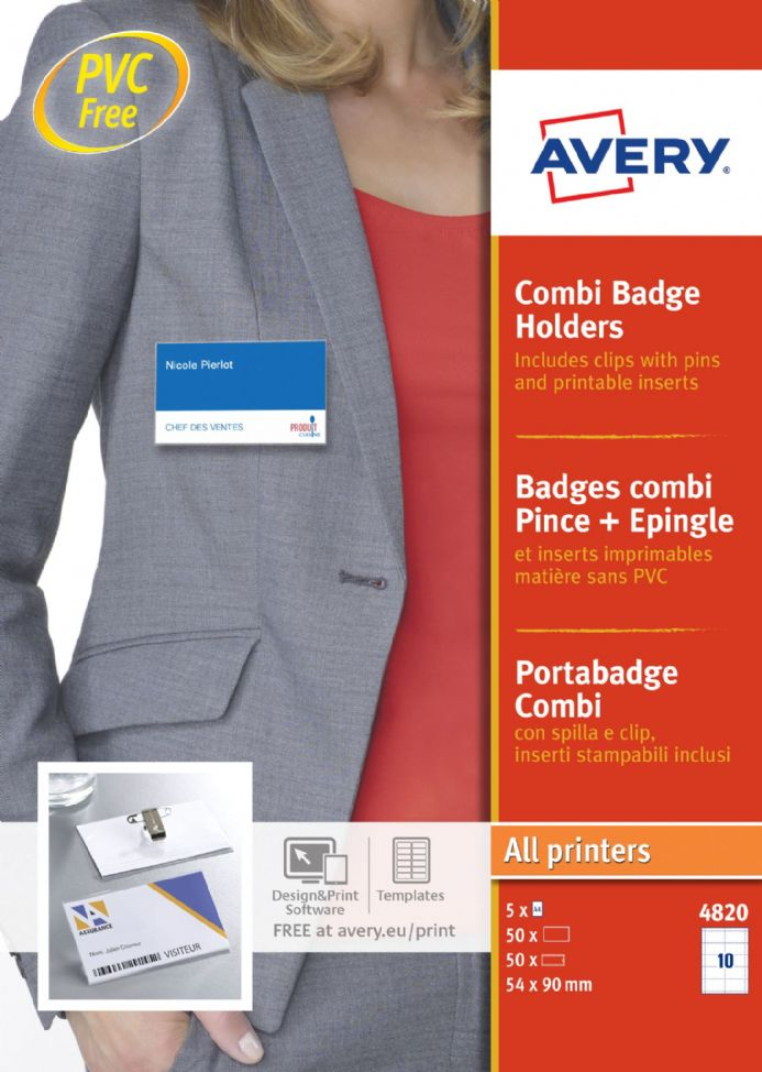 Combi Badge Holders with Clip & Pin 4820-20
